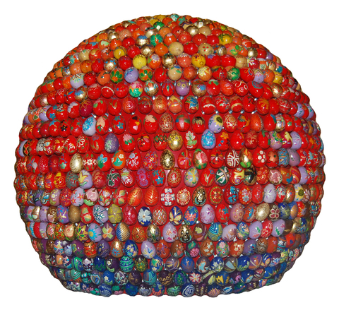 Small sphere, red and blue, floor-mounted