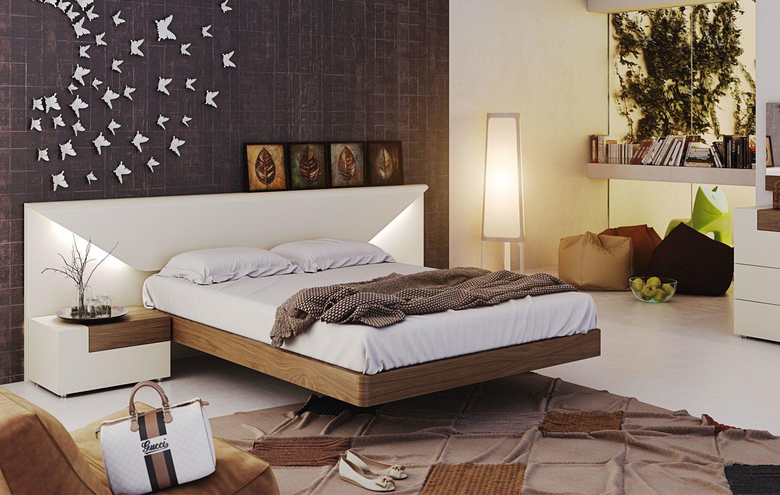 Кровать Garcia Sabate ELENA песочный/орех и тумбы прикроватные TESIS arena matt/орех