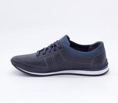 Синие кожаные кроссовки