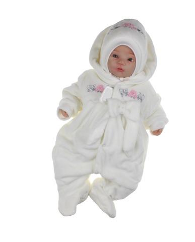 Велюровый утепленный комбинезон для новорожденных с шапкой Цветочки айвори