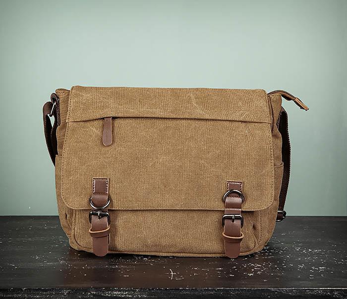 BAG504-2 Мужской портфель из ткани коричневого цвета фото 02
