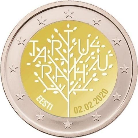 2 евро. 100-летие Тартуского мирного договора между РСФСР и Эстонией. Эстония. 2020 год