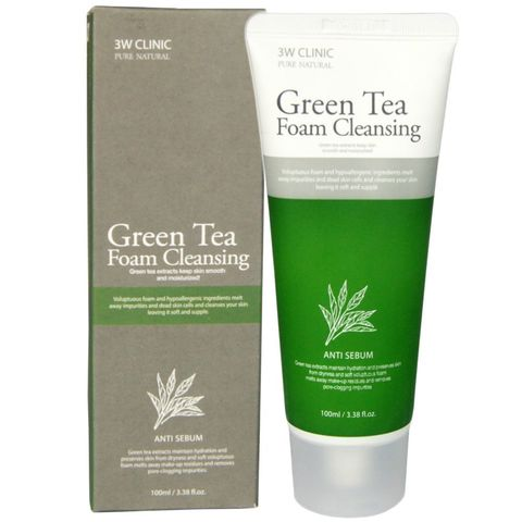 Пенка с экстрактом зеленого чая 3W CLINIC Green Tea Foam Cleansing 100 мл