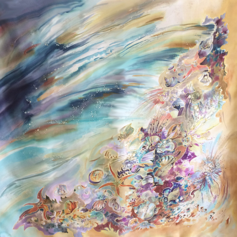 Шёлковый платок Морской Пейзаж С-60