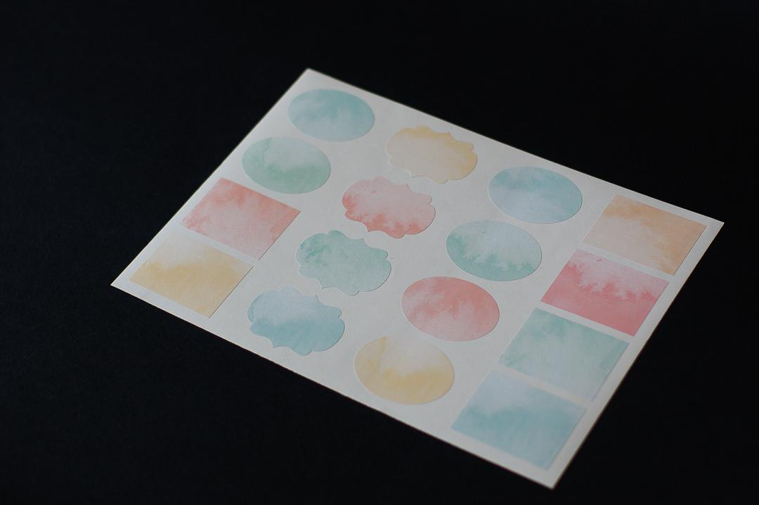 Набор наклеек 4,5х6 см, фигурные, 2 листа, акварель