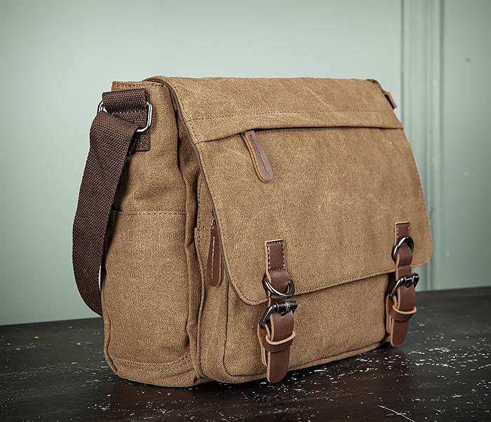 BAG504-2 Мужской портфель из ткани коричневого цвета фото 03