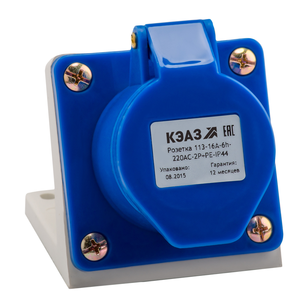 Розетка для монтажа на поверхность 113-16А-6h-220AC-2P+PE-IP44