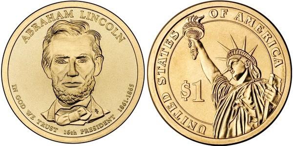 1 доллар 16-й президент США Авраам Линкольн 2010 год