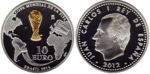 10 евро Чемпионат мира по футболу Бразилия 2014 г. Испания 2012 год