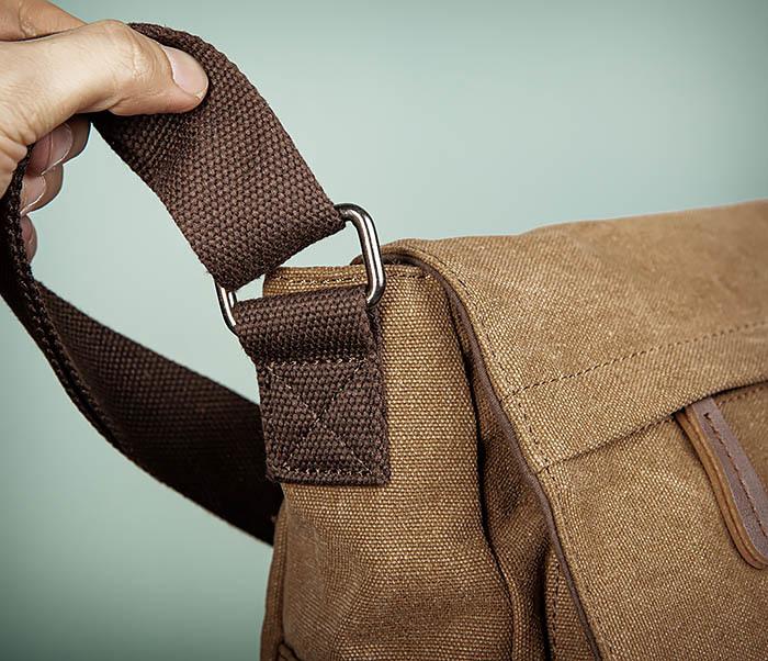 BAG504-2 Мужской портфель из ткани коричневого цвета фото 04