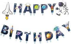 Гирлянда-буквы, Happy Birthday, Космос, 210 см, 1 шт