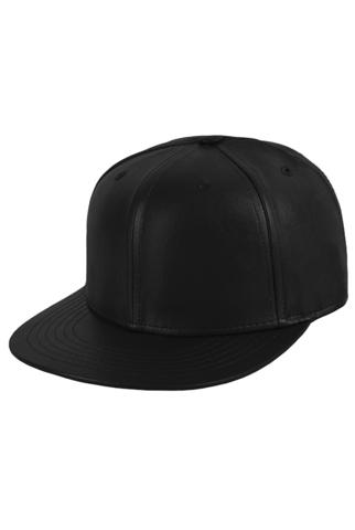 Бейсболка кожаная черная фото 1