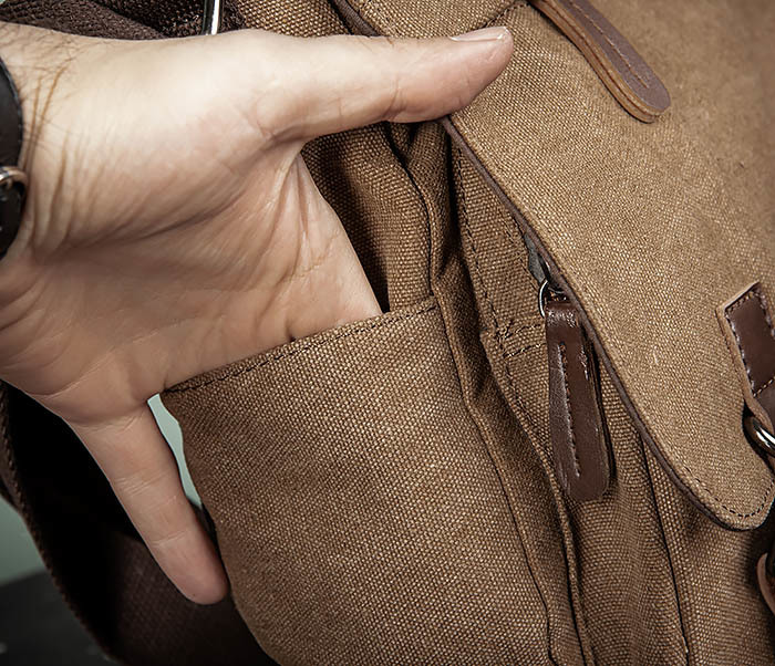 BAG504-2 Мужской портфель из ткани коричневого цвета фото 05