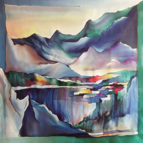 Шёлковый платок Горный пейзаж С-60