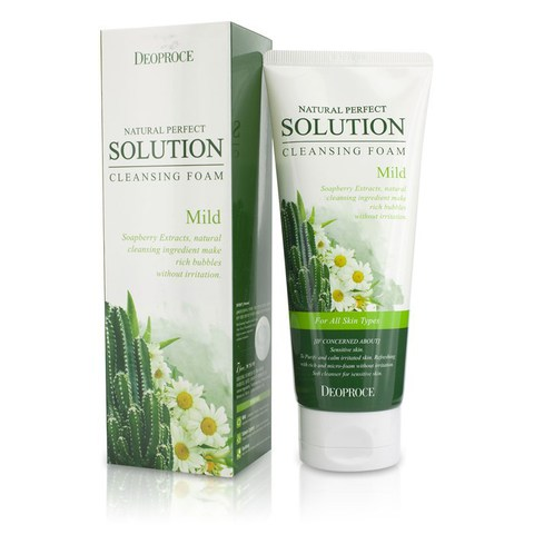 Deoproce FOAM Пенка для умывания кактус, ромашка NATURAL PERFECT SOLUTION CLEANSING FOAM MILD 170g 170гр