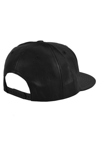 Бейсболка кожаная черная фото 2