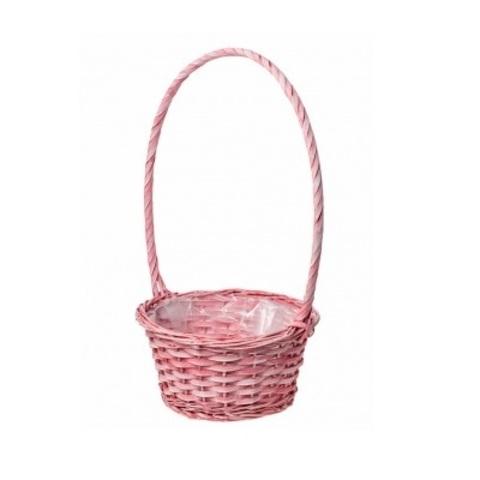 Корзина плетеная (ива), D26х13xH47см, розовый