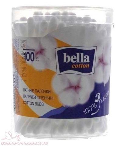 Bella cotton. Ватные палочки в круглой упаковке, 100 шт