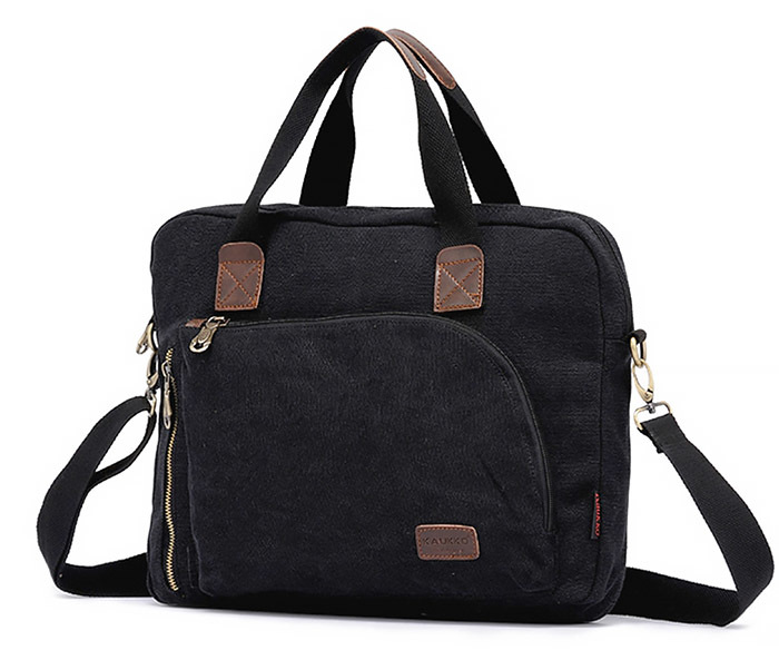 BAG400-1 Мужская сумка портфель с ремнем на плечо из ткани черного цвета
