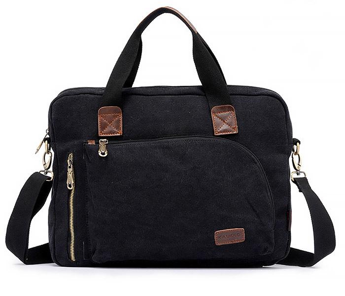 BAG400-1 Мужская сумка портфель с ремнем на плечо из ткани черного цвета фото 02