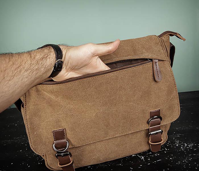 BAG504-2 Мужской портфель из ткани коричневого цвета фото 09