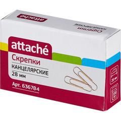 Скрепки Attache металлические золотистые 28 мм (100 штук в упаковке)
