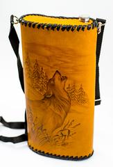 Фляга «Волк», чехол натуральная кожа с художественным выжиганием, 2 л, фото 3