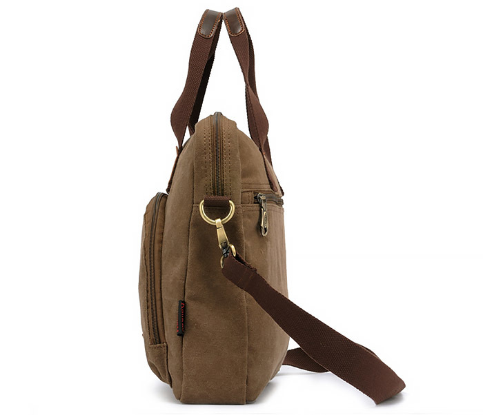 BAG400-1 Мужская сумка портфель с ремнем на плечо из ткани черного цвета фото 03