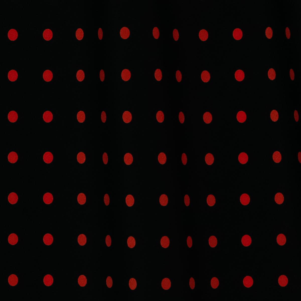 Шёлковый крепдешин чёрного цвета в красный горох