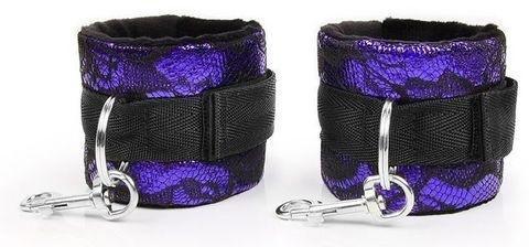 Фиолетово-черные наручники с карабинами