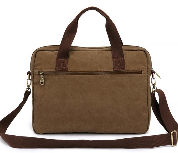 BAG400-1 Мужская сумка портфель с ремнем на плечо из ткани черного цвета фото 04