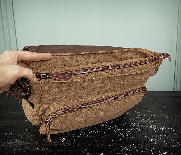 BAG504-2 Мужской портфель из ткани коричневого цвета фото 11