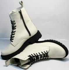 Зимние молодежные ботинки кожаные с мехом женские Ari Andano 740 Milk Black.