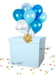"Коробка №6 ""Голубая на 10 гелиевых шаров"""