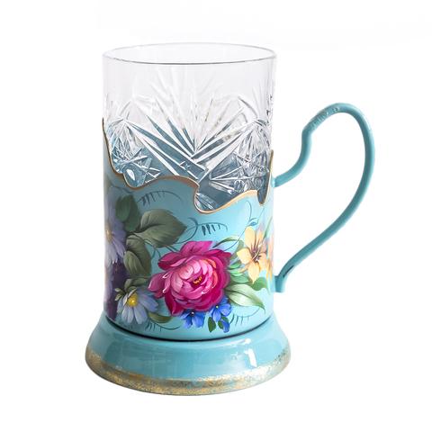 带艺术绘画的水晶玻璃杯+杯托 绿松石 PODS25102018D019