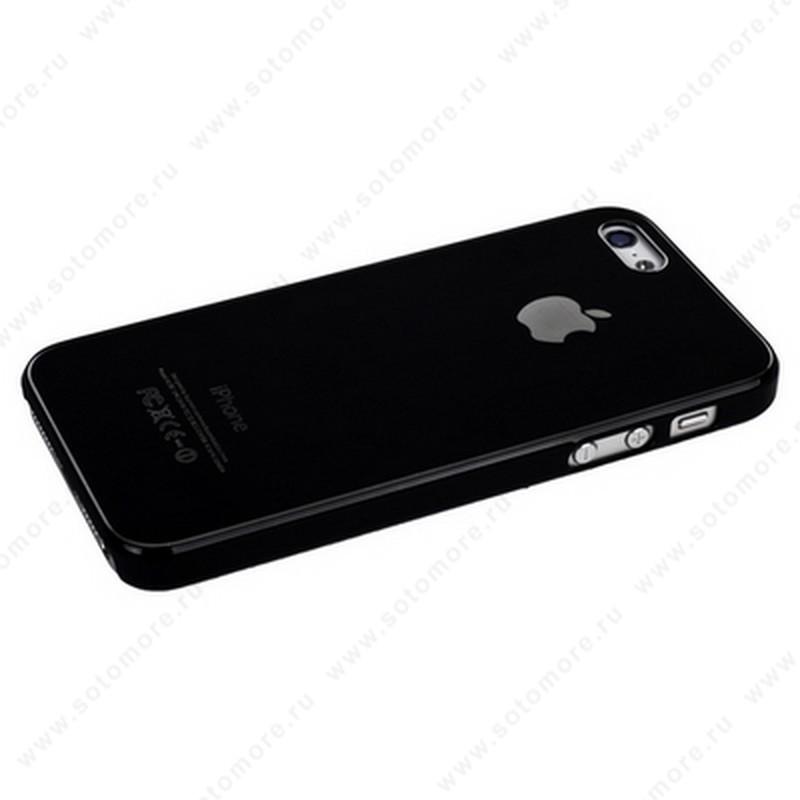Накладка SGP металлическая для iPhone SE/ 5s/ 5C/ 5 черная с черной окантовкой