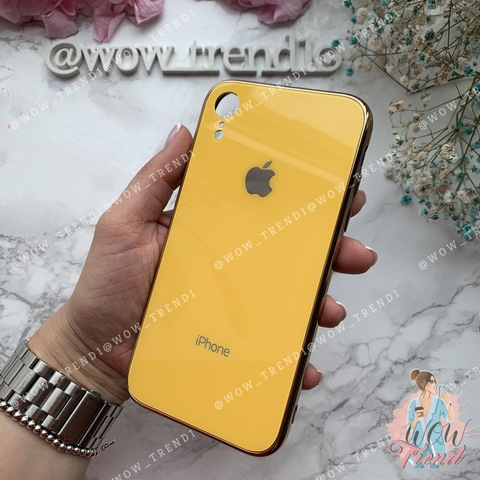 Чехол iPhone XR Glass Case Logo /yellow/