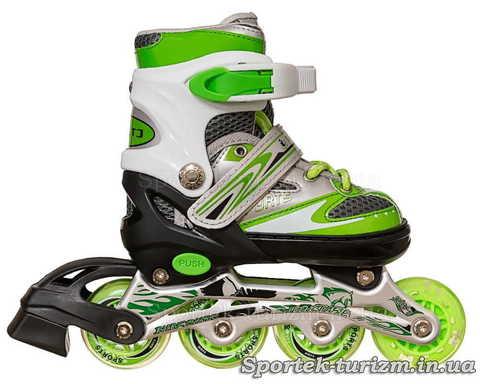 Вид справа на роликовые коньки InLine Skate 28-33 бело-зеленого цвета