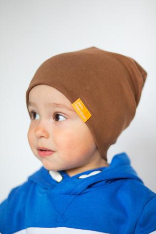 детская шапка хлопковая гладкая молочный шоколад