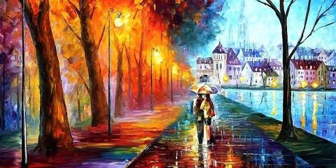 Алмазная Мозаика + Багет 30x40 Осенняя прогулка под фонарями