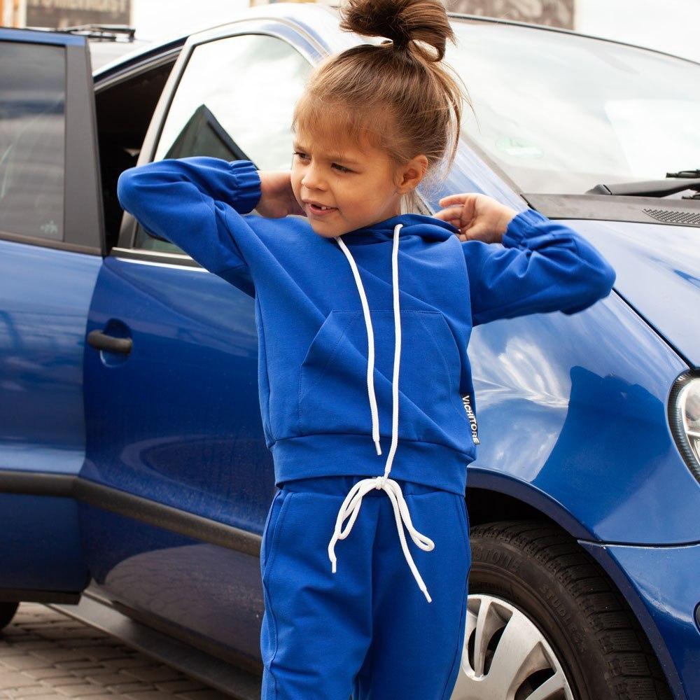 Детский спортивный костюм oversize синего цвета на девочку