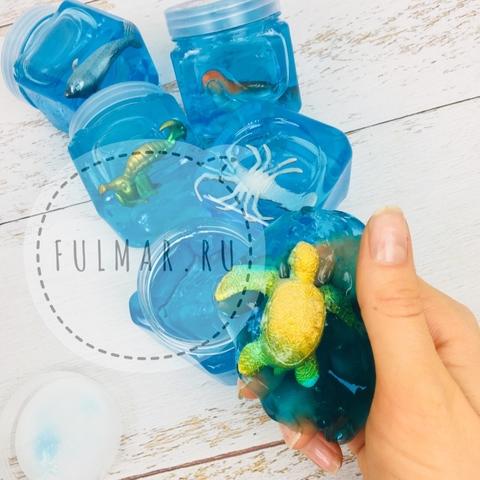 Слайм голубой с сюрпризом Морское Животное в баночке