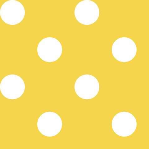 Креп сатин желтый в белый горох 1 см