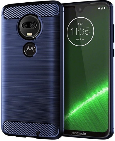 Чехол Motorola Moto G7 (G7 Plus) цвет Blue (синий), серия Carbon, Caseport