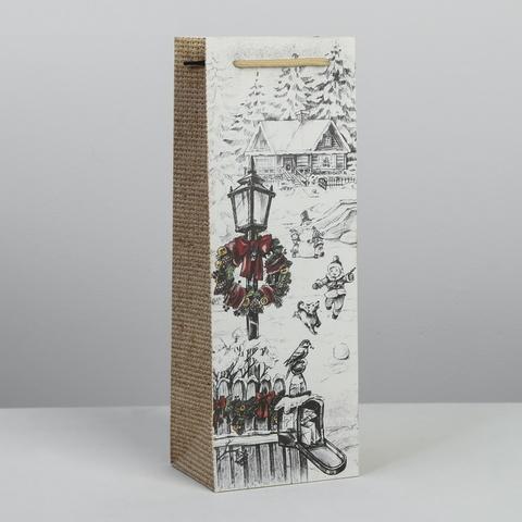Пакет под бутылку белый Новогодний сюжет фонарь 13 × 36 × 10 см