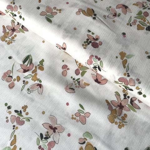 Ткань вискоза белая с цветочками 3256
