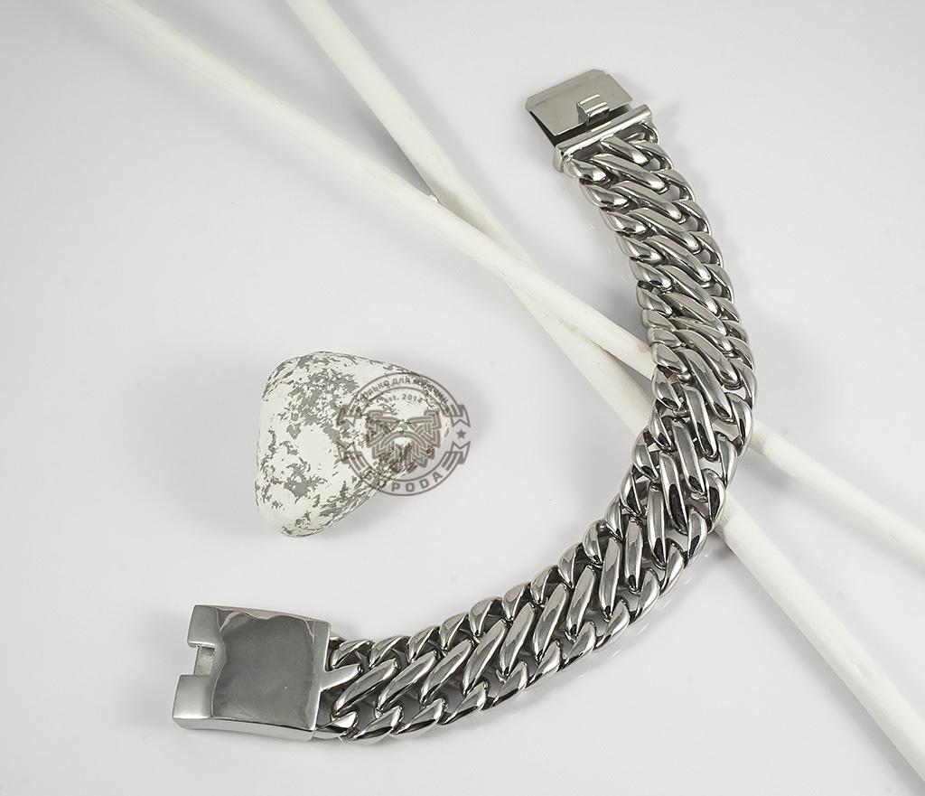BM335 Очень тяжелый браслет - цепь из ювелирной стали на удобной застежке (23 см) фото 02
