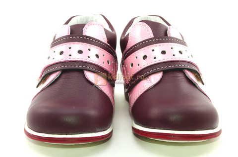 Ботинки Лель для девочек кожаные, демисезонные, ортопедические, на липучках, цвет бордо. Изображение 5 из 13.