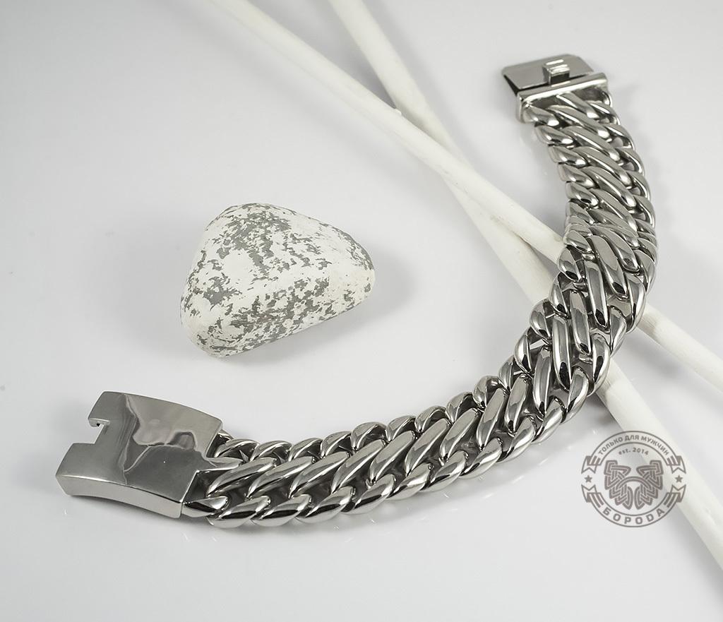BM335 Очень тяжелый браслет - цепь из ювелирной стали на удобной застежке (23 см) фото 03