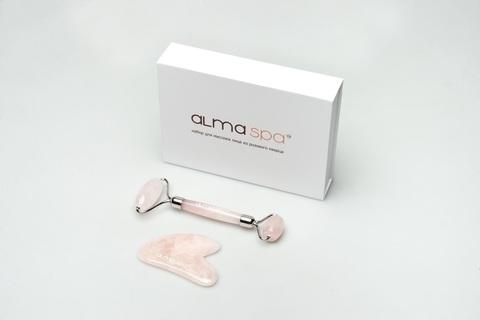ALMASPA Набор для массажа лица из розового кварца